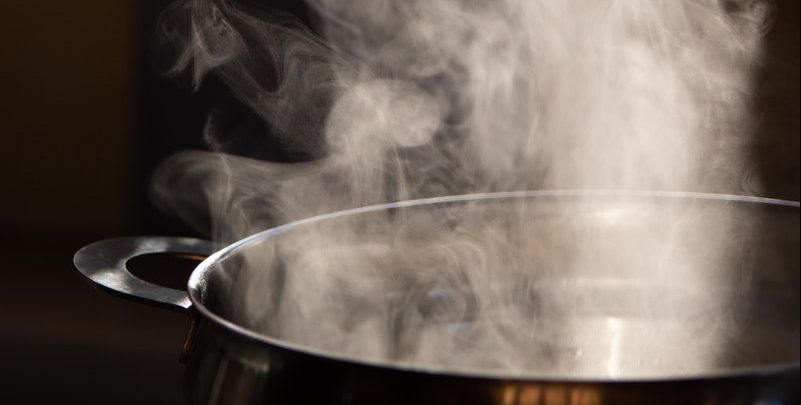 steam from hot water pot
