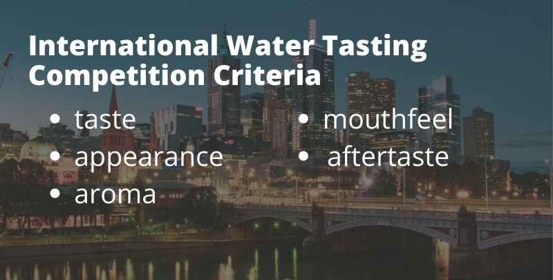 International water tasting competition criteria